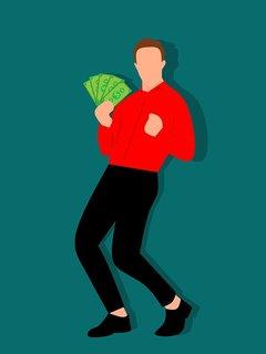 Blij persoon met geld.